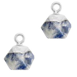 1 x Natuursteen hangers hexagon Blue white-silver Blue Stone