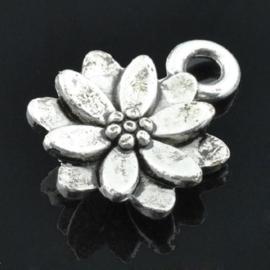 4 x Schitterende tibetaans zilveren 3D bloem 10mm x 14.5mm x 3mm, gat: 2mm