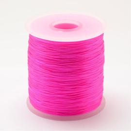 5 meter rond elastisch draad 0,2mm  Deep pink