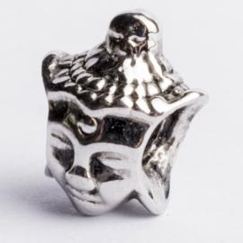 Be Charmed kraal budhha zilver met een rhodium laag (nikkelvrij) c.a. 8 x 7mm groot gat: 4.3mm