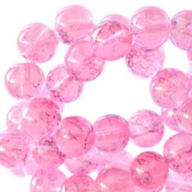 50 x 4 mm glaskralen transparant gemêleerd Pink