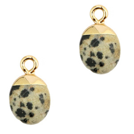 1 x Natuursteen hangers Greige-gold Spotted stone