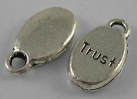 """10 stuks Tibetaans zilveren bedeltjes """"Trust"""" 8,5 x 15,5 x 3mm gat 2,5 mm (op is op!)"""