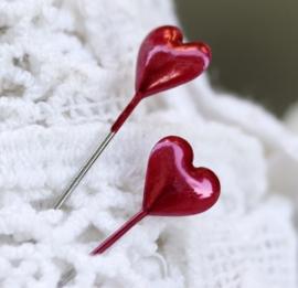10 x Mooie rode parelmoer parelspelden in de vorm van een hart 55mm