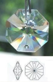 1 x prachtige tussenzetsel octagon facetkraal echt kristal 2 gaten 14mm (op = op!)
