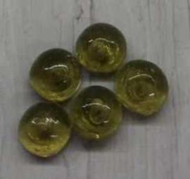 5 Stuks olijfgroene graskralen halve bol 5mm gat 1mm