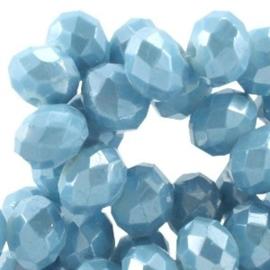 15 x Top facet kralen 6x4mm Dark aquamarine blue diamond coated