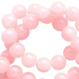 30 x Crackled opal glaskralen 6 mm Light rose peach