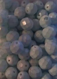 10 Stuks Glaskraal facet mat licht blauw/groen 8 mm