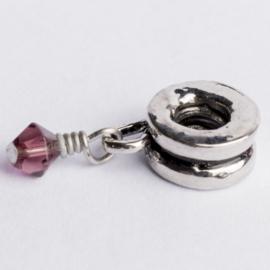 Be Charmed bedel  zilver met een rhodium laag (nikkelvrij) c.a. 21 x 8mm groot gat:4 mm