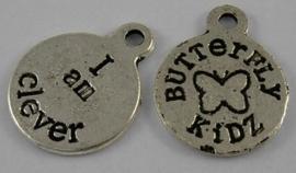 10x Tibetaans zilveren bedeltje butterfly kidz - I am clever ik ben slim 19 x 15 x 1mm Gat: 2mm