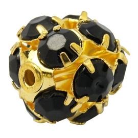 2x Vergulde kristal bal 10mm zwart