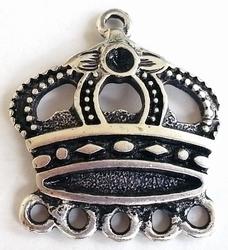 Per stuk Antiek zilveren metalen bedel Kroon met oogjes onderaan 28 mm