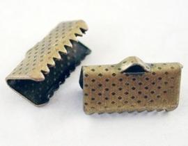 10 stuks lint of veterklemmen 10 x 7 x 5mm gat: 2mm geel koper kleur