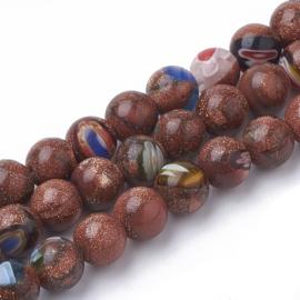 10 x handgemaakte Millefiori goldsand kralen 12 mm