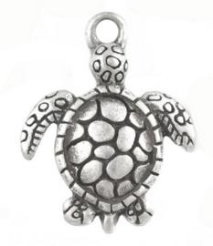 Tibetaans zilveren bedeltje van een schildpad 23 x 16 x 2mm gat 2mm