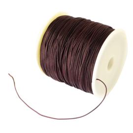 1 rol 90 meter gevlochten nylon koord, imitatie zijden draad 0,8mm coconut brown