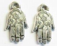 10x Antiek zilveren kunststof geluks-handje 22 mm