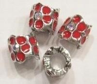 Per stuk metalen European-style kraal met rode epoxy bloemen 11 mm