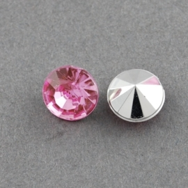 20 x Acryl puntsteen 7mm in diameter x 5mm hot pink