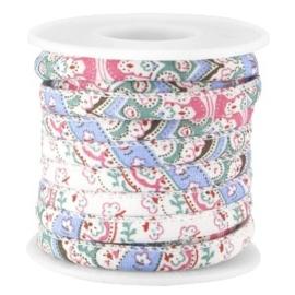 20 cm Trendy gestikt koord 5.5x4mm Lichtblauw pink