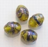 Per stuk Glaskraal India ovaal licht-topaaz olieglans 14 mm