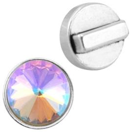 DQ metaal setting/schuiver 15mm voor 12mm Rivoli puntsteen Antiek zilver (nikkelvrij) (Ø10.2x2.2mm)