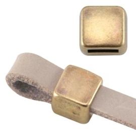 DQ metaal schuiver vierkant Ø5.2x4.2mm  geel koper (nikkelvrij)