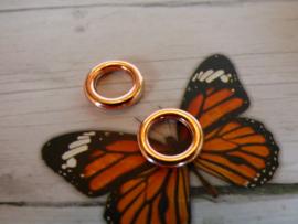 2x Gesloten metalen DQ  ring rose gold  12 x 2mm Binnen maat: 6,5mm