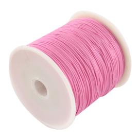 1 rol 90 meter gevlochten nylon koord, imitatie zijden draad 0,8mm hot pink