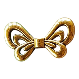 10 stuks tibetaans zilveren vlinder vleugel 17 x 9mm Gat: 1,5mm goud kleur