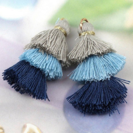 Kwastjes 3-layer 3.2cm grijs, licht blauw, donker blauw