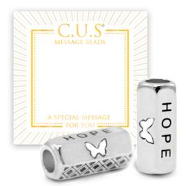 """1 x C.U.S® sieraden message beads """"hope"""" & butterfly Antiek zilver (nikkelvrij)"""