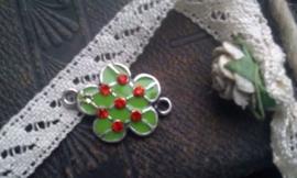 Per stuk Zilverkleurig metalen tussenzetsel bloem groen epoxy met strass 23 mm