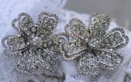 Schitterende tussenzetsel met strass bloem voor 3 rijen draden 30mm doorsnede x 10mm