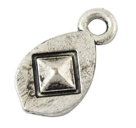 10 stuks Tibetaans zilveren bedeltjes 13 x 7 x 2mm gat: 2mm