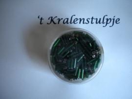 Pracht - glasstiften buisjes met zilverinslag 6mm 17 gram donker groen