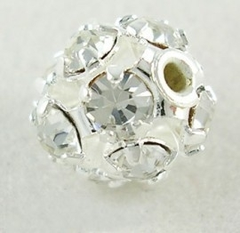 Verzilverde kristal ballen 12mm blank