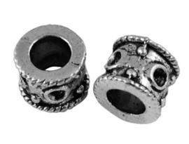 5 x Tibetaans zilveren European Jewelry bedel 8 x 7 x 7mm Gat: 5mm