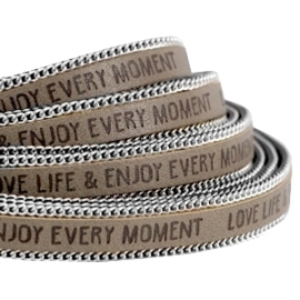 20 cm Quote imi leer 10mm met schakelketting zilver Love life Terra brown ♥