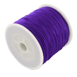 1 rol 90 meter gevlochten nylon koord, imitatie zijden draad 0,8mm dark violet