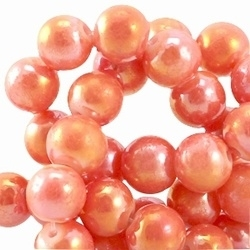 15 stuks Glaskraal rond met diamond coated zacht Oranje. 8 mm