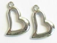 Per stuk Antiek zilveren metallook hart 22 mm     €