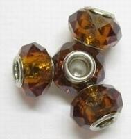 Per stuk European-style Facet kristal bruin 14 mm