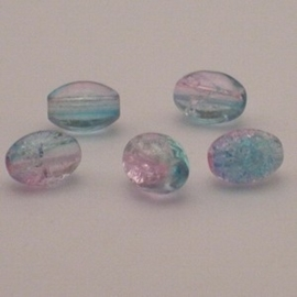 30 stuks crackle glas kralen ovaal 11 x 8,5mm blauw licht roze