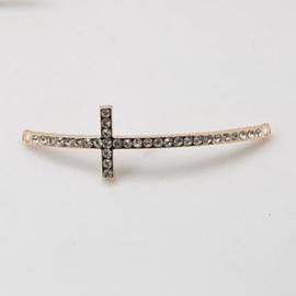 Schitterende Kruis tussenzetsel met strass 53x15x3mm Rose gold