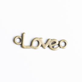 5x Tussenzetsel Love 25,5mm x 7 mm geel koper kleur oogje: 2mm ♥