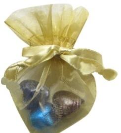 20 stuks luxe hartvormige organza zakjes 10cm x 8.75cm Goudkleur