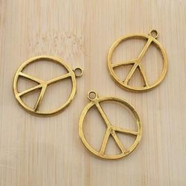 4 x tibetaans zilveren bedel vrede in goud 18 x 21mm Goudkleur
