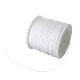 10 meter gevlochten nylon koord, imitatie zijden draad 1mm wit